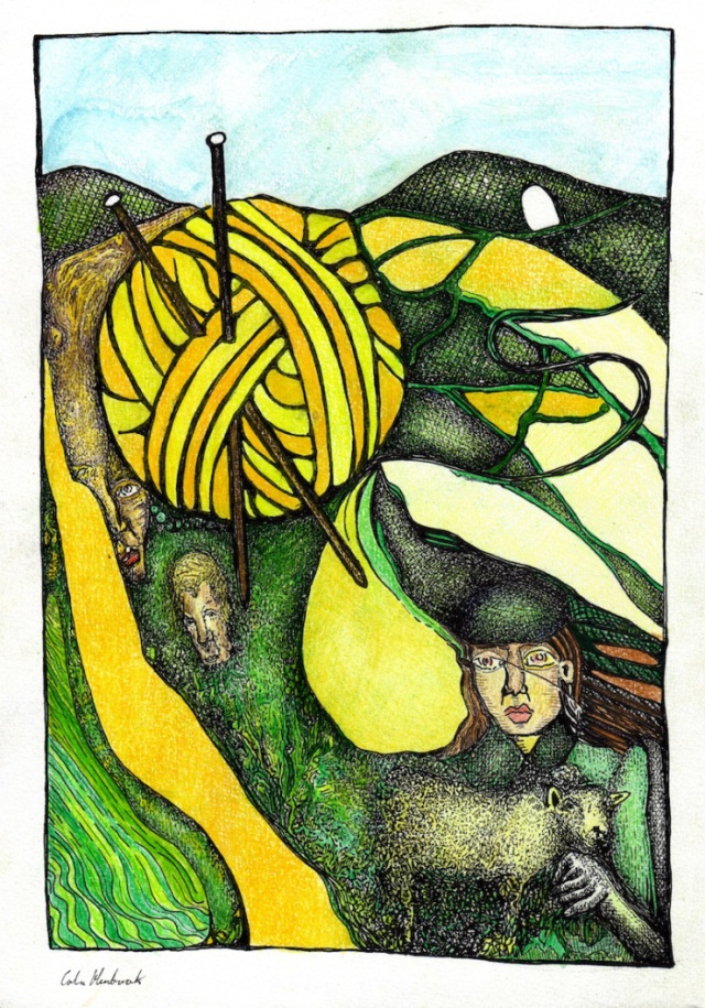 Drawing by Colin Hambrook. Blue sky with clouds above green hills, a large ball of yellow wool sits just below the hills. Brown knitting needles are stuck in the ball of wool. A thick yellow line runs down the left side of the picture like a river, and green and yellow squiggly lines run parallel to this yellow band. To the right of the picture there is another thick band of yellow intersected by thin meandering green curves that creates what looks like an aerial view of plots of land or small farms. There a two faces, one squashed between the ball of wool and the yellow band on the left and one just below the ball of wool. In the bottom right-hand corner there is a woman wearing a green beret type hat and green coat. She is holding a sheep.