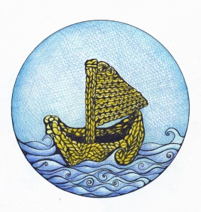 A drawing of a small boat knitted from yellow wool, sailing on a blue sea with stylised waves against a bright blue sky