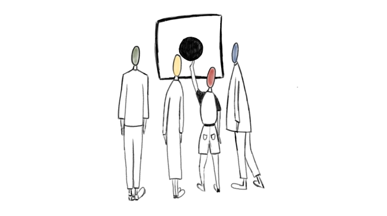 A still from the animation I was born (Misfit).Four people facing a circle of solid black in a square. They have different coloured heads (green, yellow, red and blue). The smallest person is reaching up to touch the circle. Drawn by Daria Lytvynenko.